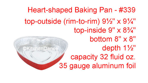 Disposable Heart Shaped Aluminum Foil Baking Pan.  Case of 100 - #339