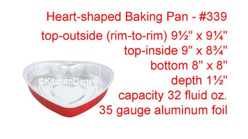 Disposable Heart Shaped Aluminum Foil Baking Pan.  Case of 100 - #339