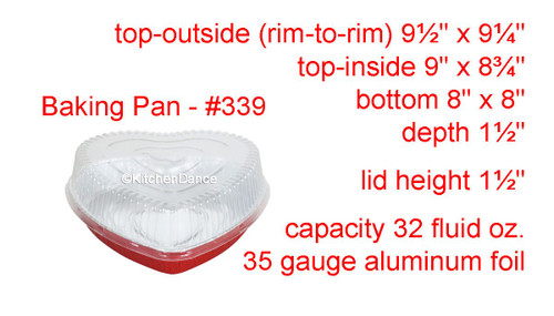 Heart Shaped Foil Pan with Plastic Dome Lid - Case of 100  #339P