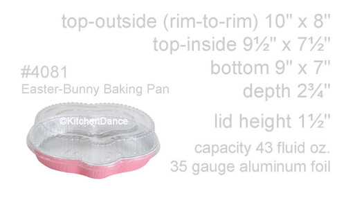 Easter Bunny Disposable Foil Pan with Plastic Lid - Case of 100 - #4081P