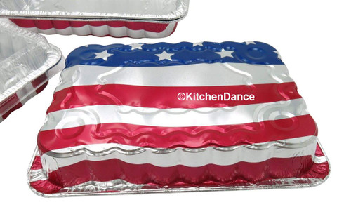 American Flag Cake Pan with Plastic Lid - Case of 100  #1776P