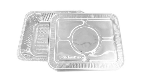 Deep Half Size Steam Table Pans with Foil Lids -  Case of 100 -  #4200L