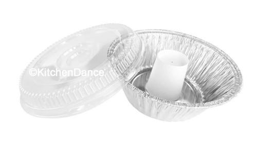 "10"" Angel Food Cake - Bundt Pan with Plastic Lid - Combo pack of 100 #4063"