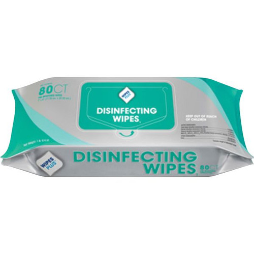 Wipes Plus Lemon Scent Disinfecting Wipes- Case of 12 packs of 80 count (960 total)