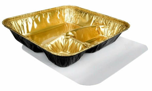 Black & Gold X- Large 3 Compartment Tray with Board Lid - Case of 250  #2345L