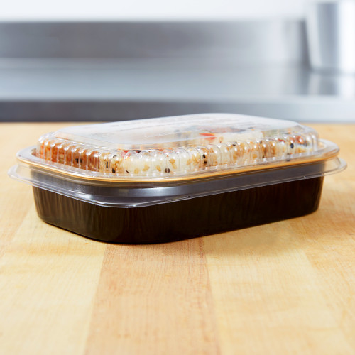 16 oz. Black and Gold Foil Entrée or Take Out Pan with Dome Lid - Case of 100