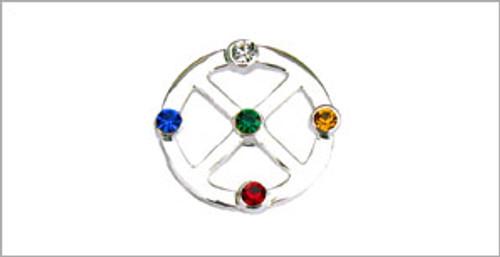 Silver Medicine Wheel Pin