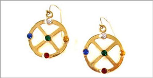 Gold Medicine Wheel Earrings