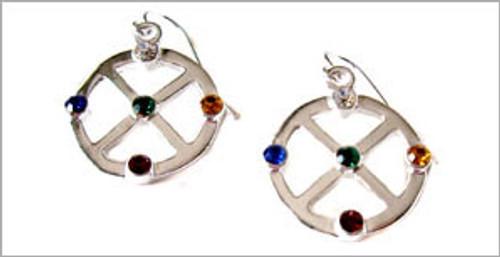 Silver Medicine Wheel Earrings