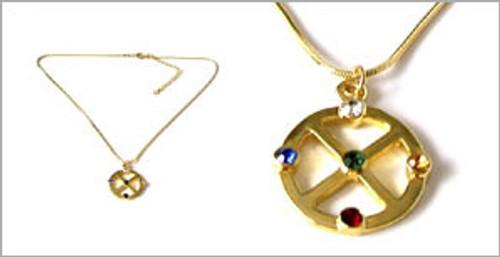 Gold Medicine Wheel Pendant
