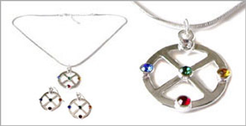 Silver Medicine Wheel Earring + Pendant Set