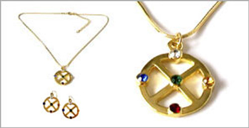 Gold Medicine Wheel Earring + Pendant Set