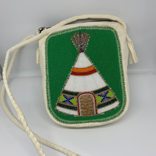 Teepee beaded deer hide purse