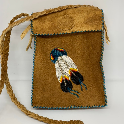 Feather moosehide purse