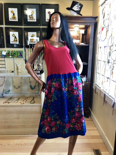Royal Blue Kokum Scarf Dress with Red Top