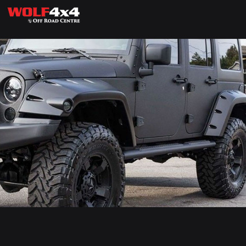 Bushwacker Black Max Pocket Style Smooth Finish Front Fender Flares with Extended Coverage for 2007-2018 Jeep Wrangler JK