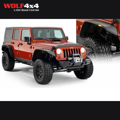 Bushwacker Black Jeep Flat Style Smooth Finish 4-Piece Fender Flare Set for 2007-2018 Jeep Wrangler JK Unlimited 4-Door