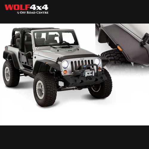 Bushwacker Black Jeep Flat Style Smooth Finish 4-Piece Fender Flare Set for 2007-2018 Jeep Wrangler JK 2-Door
