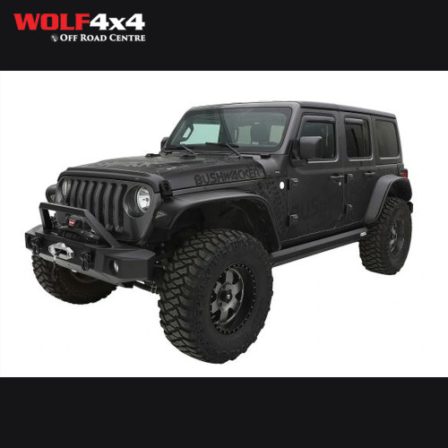 Bushwacker Black Jeep Flat Style Smooth Finish 4-Piece Fender Flare Set for 2018 Jeep Wrangler JL (All Models)