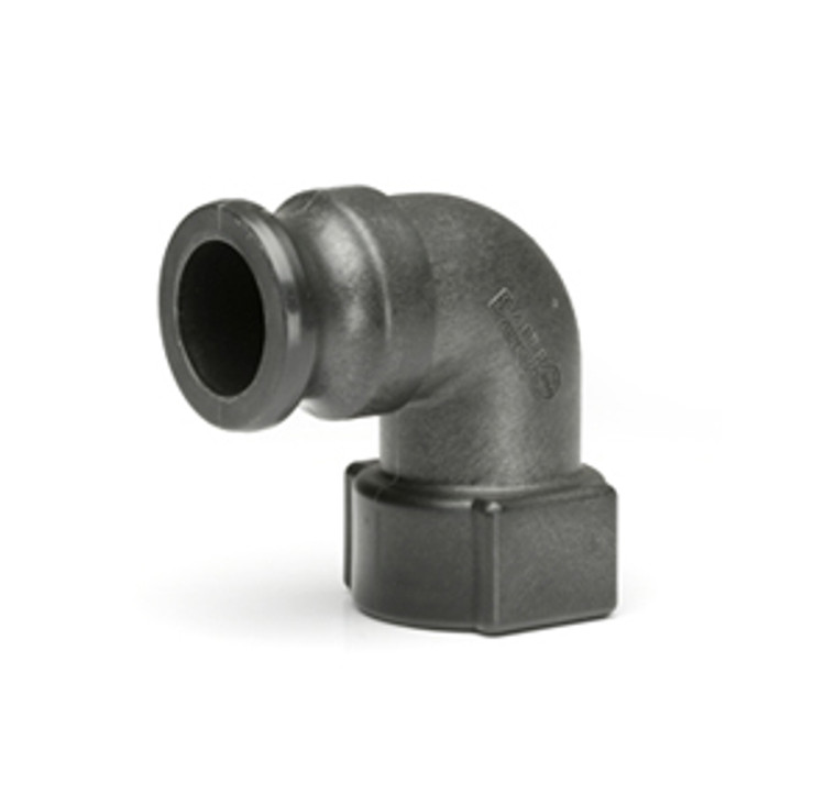 """Quick Clamp Adapter - 90 Degree, 1.5"""" Male QC x 1.5"""" Female NPT - Polypropylene (141MF-150NY)"""