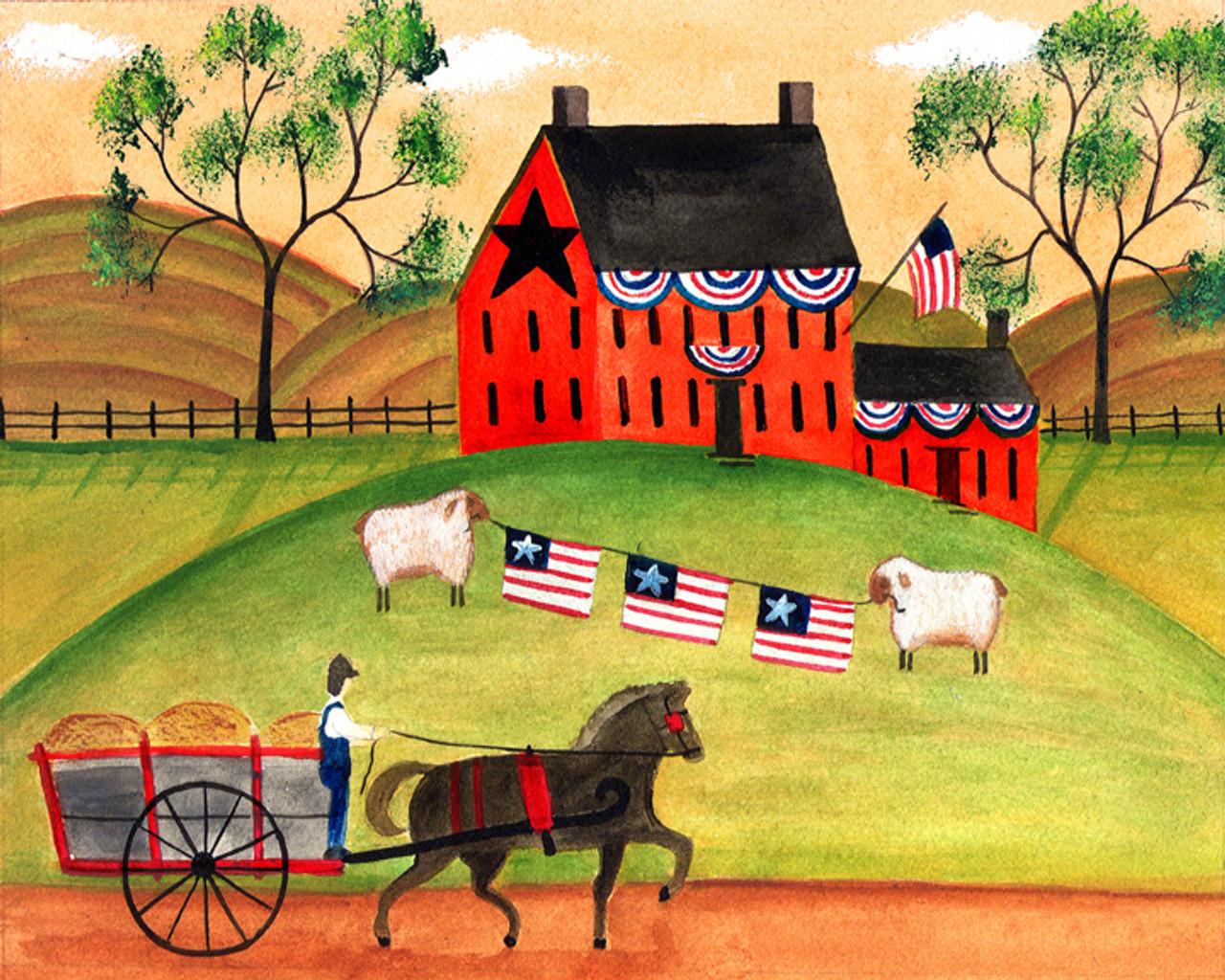 PRIMITIVE AMERICANA SHEEP HORSE WAGON FOLK ART PRINT 8x10