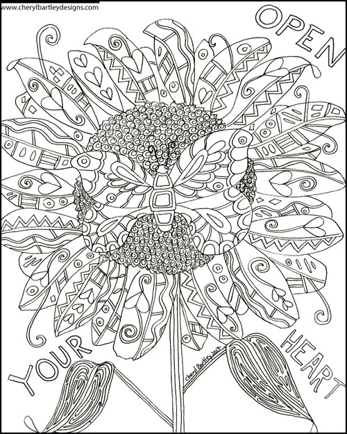 Butterfly Sunflower Open Your Heart FREE Coloring Craft Page