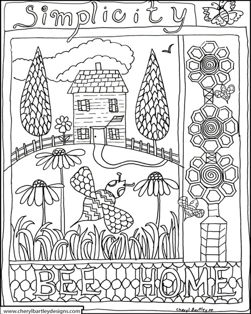 BEE HOME Coloring Craft Page FREE