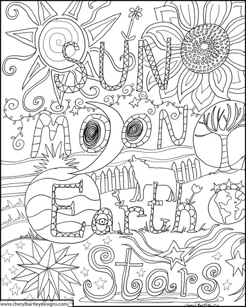 Sun Moon Earth FREE Coloring Craft Page