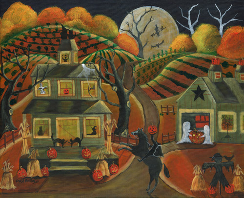 Original Folk Art Halloween Painting Mischief Night at Jack-O-Latern Hallow