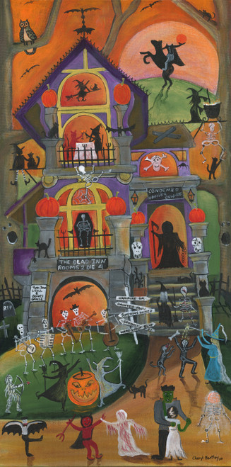 Original Acrylic Folk Art Painting Up On Haunted Hill