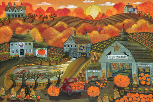 Sunrise Harvest At Friends Farm Original Folk Art Painting