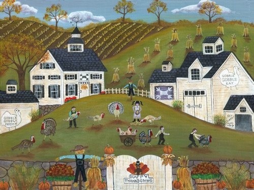 Original Folk Art Painting Thanksgiving Turkey Farm Gobble Gobble SOLD