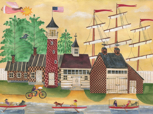 Angel Sunshine Seaside Rowboat Cruise Original Watercolor Painting
