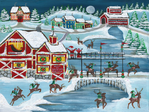 Home of Santa's Reindeer original folk art painting