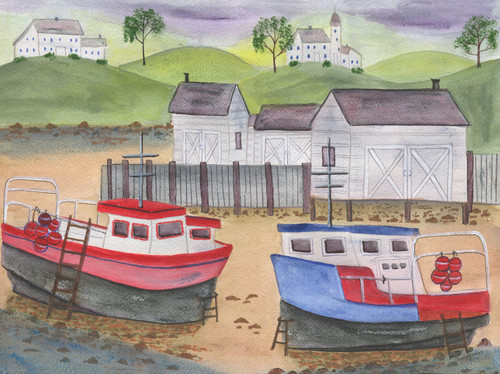 Two Fishing Boats Dry Dock Town Folk Art Original Watercolor Painting