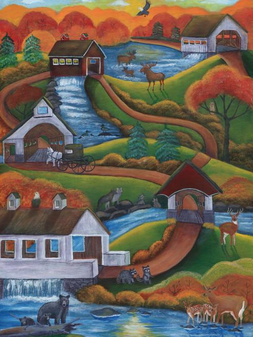 Original Painting Follow the Covered Bridge Road