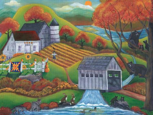 Original Painting Rustic Farm Wildlife Covered Bridge