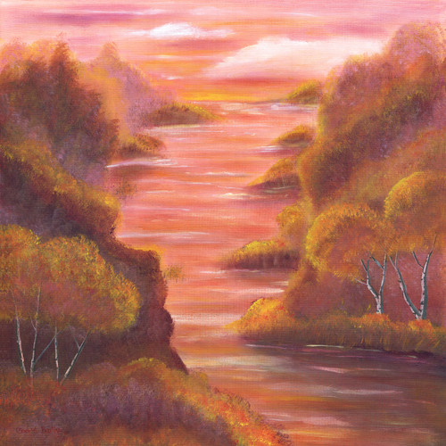 Pink Sunset by River