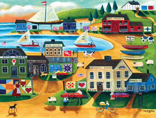 Old Tyme Sailing Village Masterpieces Puzzle by Cheryl Bartley