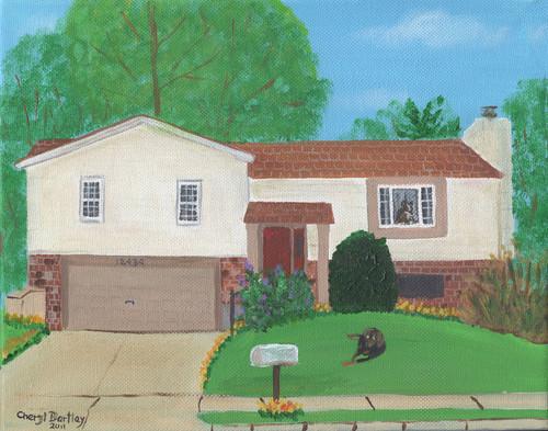 Maher House 2 Folk Art Custom Painting