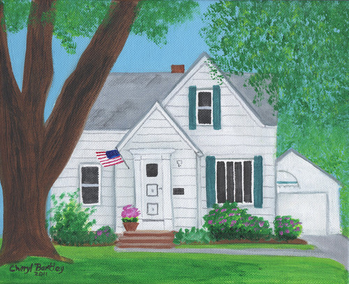 Maher House 1 Folk Art Custom Painting