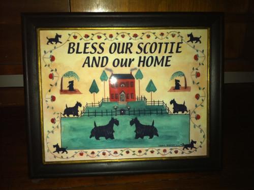 Scottie Dog House Blessing Print Framed 11x14