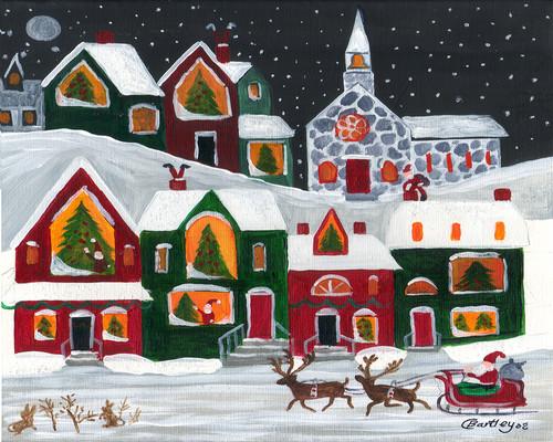 Santa Sleigh Christmas Eve Snowy Rabbiits Folk Art