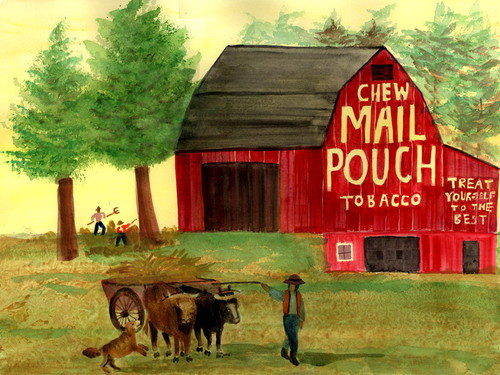 Folk Art Tobacco Red Barn Hay Time Oxen Wagon Print