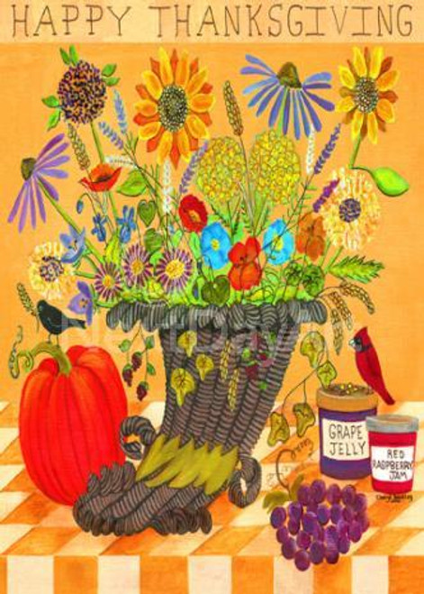 HAPPY THANSGIVING CORNICOPIA WITH FLOWERS BIRDS PUMPKIN PRINT 11x14