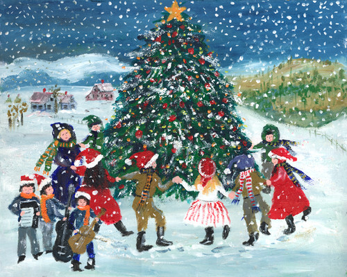 ROCKING AROUND THE CHRISTMAS TREE Folk Art 11x14 PRINT