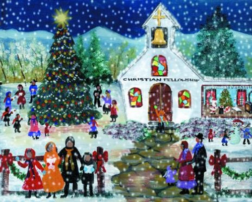 Christian Fellowship Christmas Eve Church Folk Art Print