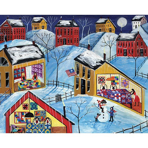 WINTER MOON QUILTER VILLAGE FOLK ART PRINT 11 x 14