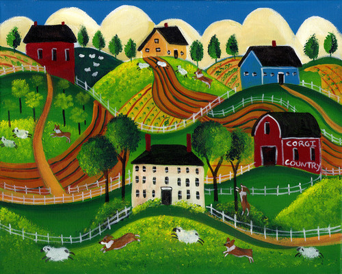 Corig Dog Country Folk Art Print