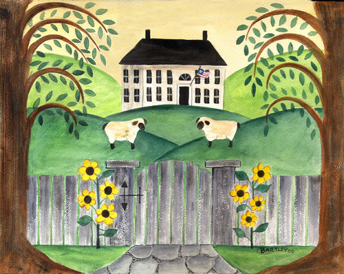 FOLK ART SHEEP AND SUNFLOWERS WATERCOLOR PAINTING